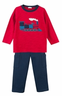 Le Top Infant / Toddler Boys Navy Blue French Terry Pants with Garnet Red Train Shirt