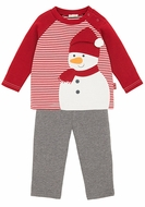 Le Top Infant / Toddler Boys Red Frosty Snowman Shirt with Gray French Terry Pants