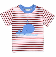 Le Top Infant / Toddler Boys Red Striped / Blue Whale Shirt