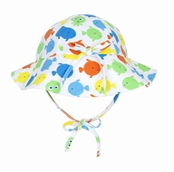 Le Top Infant / Toddler Girls Colorful Fish Floppy Sun Hat with Ties