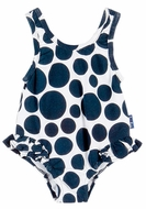 Le Top Infant / Toddler Girls White / Navy Blue Polka Dots Hip Ruffle One Piece Swimsuit