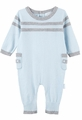 Le Top Layette Baby Boys Sweater Knit Romper - Grey on Blue
