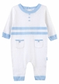 Le Top Layette Infant Boys White Sweater Knit Coverall - Blue Trim