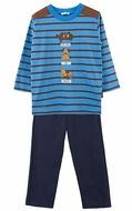 Le Top Toddler Boys Blue French Terry Pants with Puppy Dog Tricks Striped Shirt