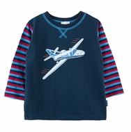Le Top Toddler Boys Navy Blue Jet Plane Shirt with Striped Sleeves