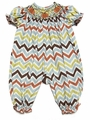 Le Za Me Baby Girls Fall Chevron Striped Smocked Pumpkin Romper