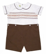Le Za Me Baby / Toddler Boys Dressy Smocked Button On Suit - Brown
