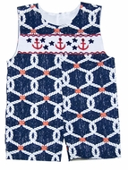Le Za Me Baby / Toddler Boys Smocked Red Anchors on Navy Blue Nautical Print Shortall