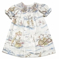 Le Za Me Baby / Toddler Girls Pastel Easter Bunny Toile Smocked Dress - Bishop