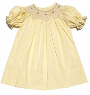 Le Za Me Baby / Toddler Girls Smocked Light Yellow Easter Dress - Bishop