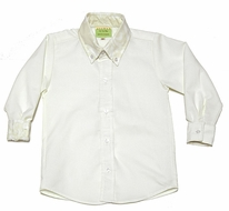 Le Za Me Boys Button Down Shirt with Contrast Cuffs - Ivory with Champagne Damask