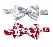 Le Za Me Boys Holiday Damask Bow Ties - Choose Gray or Red