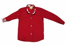 Le Za Me Boys Red Button Down Dress Shirt - Contrasting Red Damask Cuffs / Collar