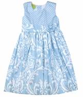 Le Za Me Girls Blue Dots & Damask Dress - Sleeveless with Flower at Waist