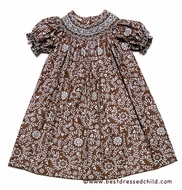 Le Za Me Girls Brown / Mint Chocolate Chip Smocked Fall Dress