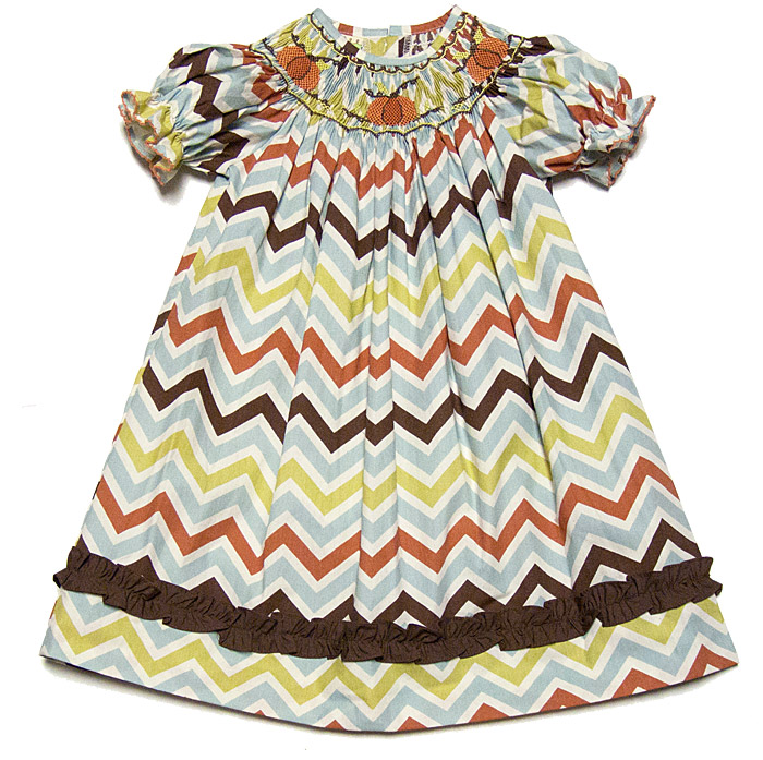 Fall Smocked Dresses For Girls Le Za Me Girls Fall Chevron