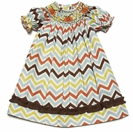 Le Za Me Girls Fall Chevron Stripes Smocked Pumpkins Bishop Dress