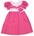Le Za Me Girls Nia Dress with Collar & Flower Sash - Pagoda Pink