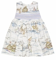 Le Za Me Girls Pastel Easter Bunny Toile Smocked Sash Dress