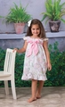 Le Za Me Girls Pink Tea Party Print Lisa Dress - Pink Bow
