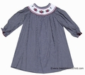 Le Za Me Kids Girls Black Gingham Smocked Christmas Poinsettia - Bishop Dresses