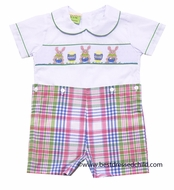 Le Za Me Kids Infant / Toddler Boys Pastel Plaid Smocked Easter Bunny Button On Suit