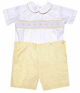 Le Za Me Kids Infant / Toddler Boys Yellow Smocked Button On Suit