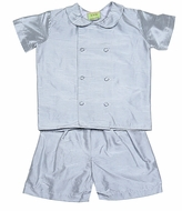 Le Za Me Baby / Toddler Boys Baylor Double-Breasted Dressy Silk Shorts Set - Grey Check