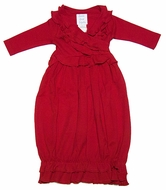 Lemon Loves Lime Layette Baby Girls Jenna Gown - Christmas Red