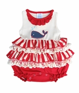 Lemon Loves Lime Layette Baby Girls Red Striped / Blue Whale Splash Bubble