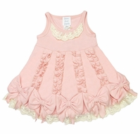 Lemon Loves Lime Layette Baby Girls Ruffle Dancing Bows Dress - Creole Pink