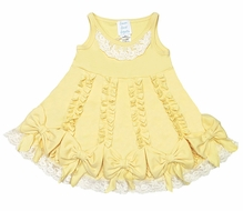 Lemon Loves Lime Layette Baby Girls Ruffle Dancing Bows Dress - Yellow Cream