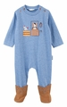 LeTop Baby Boys Heather Blue Pony Coverall with Faux Suede Attached Cowboy Boots