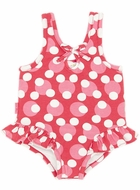 LeTop Baby Girls Love Always Cherry Red / Pink Polka Dot Swimsuit with Hip Flip