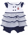 LeTop Baby Girls Navy Blue Ruffle Nautical Anchor Sailor Suit Bubble