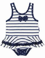 LeTop Baby Girls Navy Blue / White Striped Nautical Skirted Swimsuit
