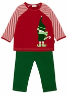LeTop Baby / Toddler Boys Red Jolly Elf Shirt with Green French Terry Pants