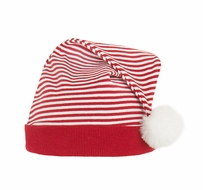 LeTop Frosty Family Red / White Stripe Hat with White Faux Fur Pom Pom