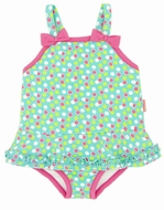 LeTop Girls Aqua Dots / Pink Trim Skirted Swimsuit with Bows
