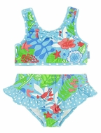 LeTop Girls Blue / Green Caribbean Island Dream Tankini Two Piece Bathing Suit - Cut Out Back