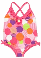Letop Girls Candy Pink Razzle Dazzle Dot Cross Back Swimsuits