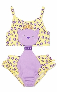 LeTop Girls Lavender / Yellow Leopard Novelty Monokini Swimsuit with Hip Ruffle