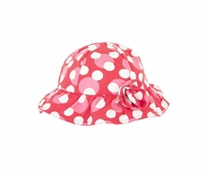 LeTop Girls Love Always Cherry Red / Pink Polka Dot Sun Hat with Ruffled Brim