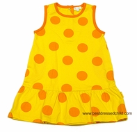 LeTop Girls Yellow Sleeveless Beach Cover Up Dress with Big Orange Polka Dots