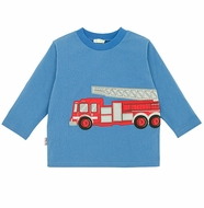 LeTop Infant / Toddler Boys Blue Shirt with Big Red Firetruck - 3D Doors