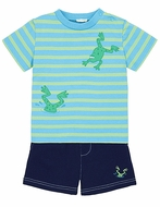 LeTop Infant / Toddler Boys Blue Striped Diving Frogs Shirt with Shorts