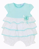 LeTop Layette Baby Girls Simply Sweet White Eyelet / Aqua Tiered Ruffle Bubble