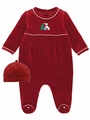 LeTop Layette Infant Boys Garnet Red Velour Footie Merry Christmas Puppy Coverall & Cap