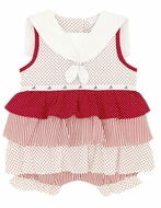 LeTop Layette Infant Girls Red / White Dots / Stripes Ruffle Sailor Bubble
