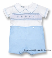 Lezame Kids Baby / Toddler Boys Smocked Button On Shorts Outfit - BLUE